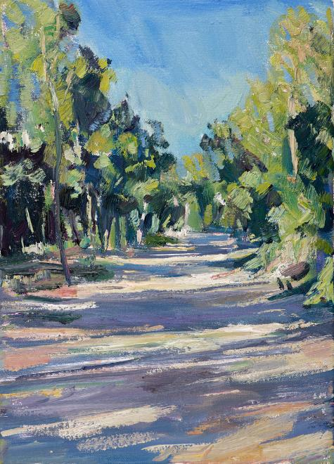 2013 Path Through Woods at Les Bassacs | Oil on Board | 26 x 30 cm